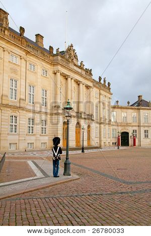 Guards on duty near Amalienborg castle in Copenhagen, Denmark