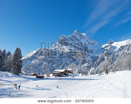 Kids ski school in Braunwald. Switzerland