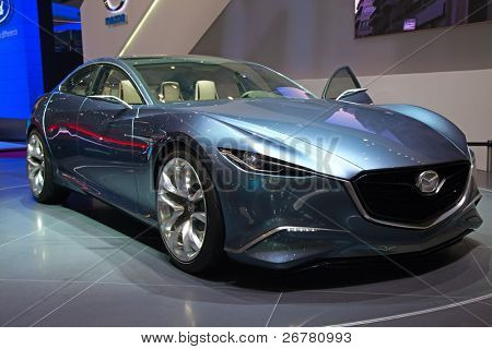 GENEVA - MARCH 8: The Mazda concept preview on the 81st International Motor Show Palexpo-Geneva on March 8; 2011  in Geneva, Switzerland.
