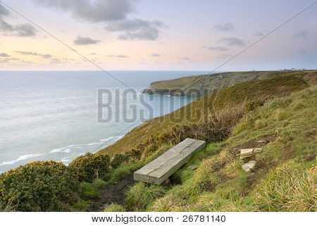 Cliff View Seascape, Cornwall, Uk.