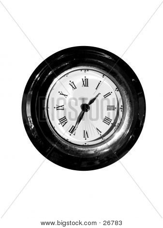 Old Clock Isolated Black And White