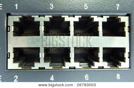Close-up of network cable & hub.