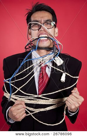 Angry Businessman All Tied Up