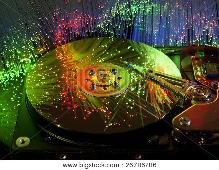 harddisk with fiber optical background more in my portfolio