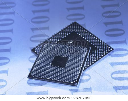 central microprocessors for a computer on a data background