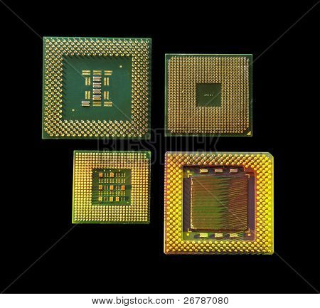 central microprocessors for a computer on a black background