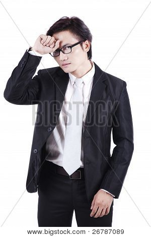 Tired Asian Businessman Isolated On White