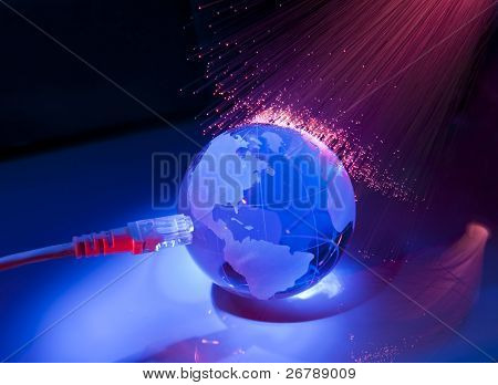 globe with high technology background