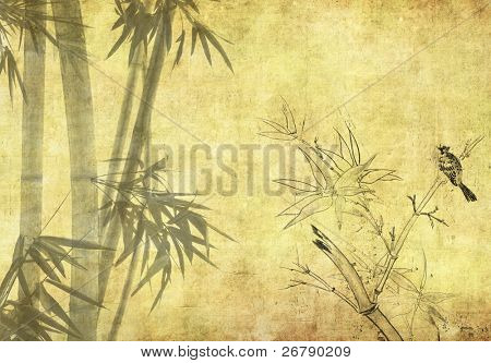 bamboo on old grunge antique paper texture