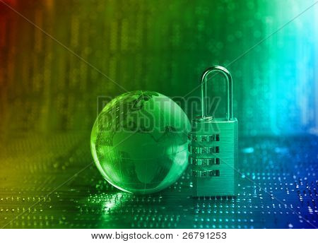 Lock and world map with technology background