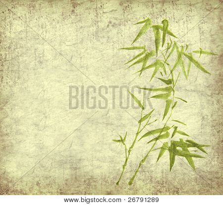 Gemälde von Bambus auf alt Grunge Kunstdruckpapier