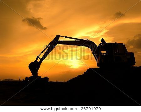 digger shovel working at subset