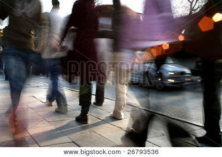 close up shot of a busy people walking