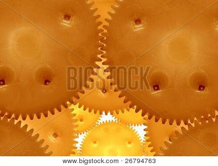 a closeup shot of conceptual golden gears