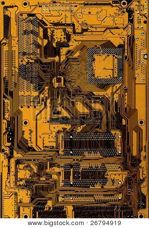 Digitally Generated Image of yellow computer circuitboard