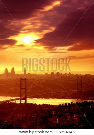 elevated view of bosphorus bridge in Istanbul at sunset