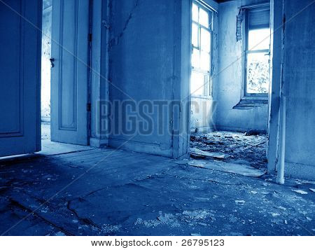 an image of ruinous abandoned house interior