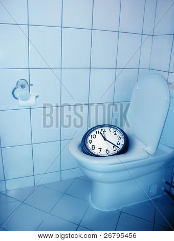 architectural detail shot of a house toilet and a clock
