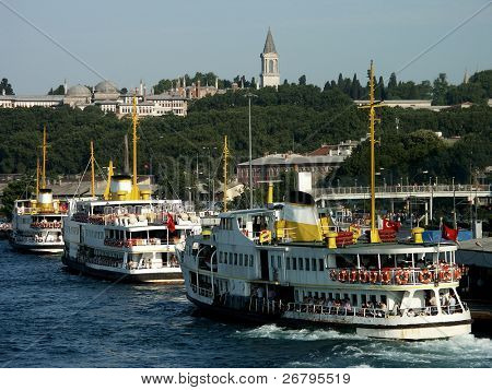 ferry on bosphorus,  marmara sea in istanbul, Turkey