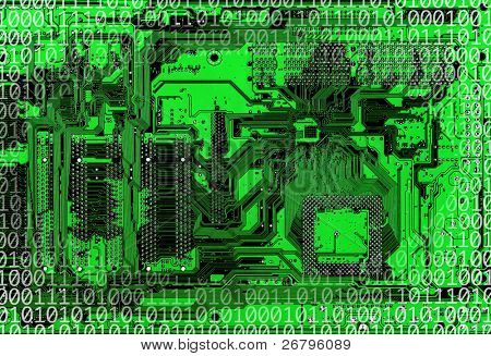 Digitally Generated Image of green computer circuitboard