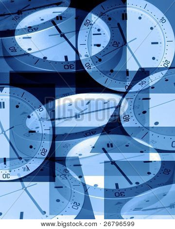 Digitally Generated Image of several clocks in blue
