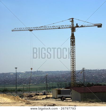 an image of a derrick at construction zone