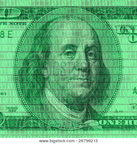 close up shot of dollar bill on binary code background
