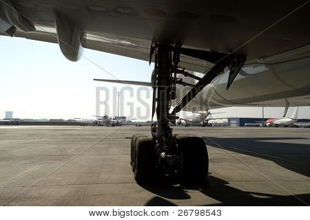 close up shot of  an airplane's wheel