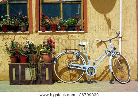 an image of parked bicycle front of window