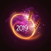 2019. Happy New Year. Holiday Vector Illustration. Festive Light Banner With Sparkling Firework Rock poster