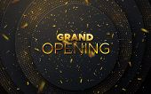 Grand Opening. Business Startup Ceremony. Vector Illustration. Marketing Event Label. Abstract Backg poster