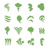 Smell Icons. Steaming Stench, Vapor And Cooking Steam. Green Expired Food Odor Isolated Symbols. Gre poster