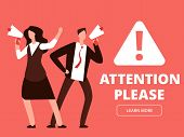 Attention Vector Banner Or Web Page Template With Cartoon Man And Woman With Megaphones. Illustratio poster