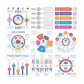 Financial Infographic. Business Bar Graph And Flow Chart, Economic Diagram Circle Charts With Icons. poster