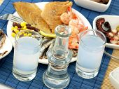 picture of ouzo  - Seafood and ouzo - JPG