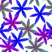 Cute Watercolor Floral Seamless Pattern. Blue Boho Flowers. Vintage Hippie Style. Cute Floral Waterc poster