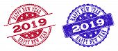 Grunge Happy New Year 2019 Seal Stamps In Blue And Red Colors. Stamps Have Draft Surface. Vector Rub poster