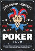 Poker Club And Gambling Game Poster. Vector Retro Design Of Joker With Playing Cards Suits Of Spades poster