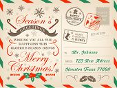 Merry Christmas Postcard Or Letter, Xmas Season Greetings With Stamps. Vector New Year Or Christmas  poster