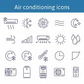 Set Of Air Conditioning Vector Icons For Your Design. Air Conditioner And Air Compressor Images. Col poster