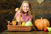 Harvest Festival Concept. Farm Market Fall Harvest. Child Girl Presenting Harvest Of Her Vegetable G poster