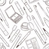 Seamless Pattern, Handdrawn Sketch, Set Of Eyebrow Products poster