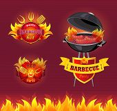 Party Barbecue Hot Bbq Isolated Vector. Frying Pan And Brazier With Hot Fire And Cooking Sausages On poster
