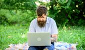 Looking For Inspiration. Blogger Becoming Inspired By Nature. Man Bearded With Laptop Sit Meadow Nat poster