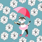 Seamless Pattern With Cute Kitty, Pink Umbrella And Delphinium Flowers On Blue Background. Print For poster