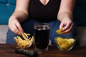 Overeating, Sedentary Lifestyle, Bad Habits, Food Addiction, Eating Disorders. Fat Overweight Woman  poster