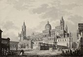 Antique illustration of Palermo Cathedral, Italy. The original engraving, created by B. Rosaspina, m