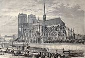 Antique engraved illustration of Notre Dame de Paris, from a drawing of Fichot and Gaildrau. Publish