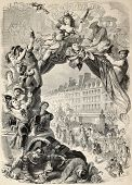 stock photo of tuesday  - Old allegoric illustration of Mardi Gras  - JPG