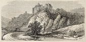 Antique illustration shows Chateaux de Bruniquel, ancient castle in Tarn-en-Garonne, southern France